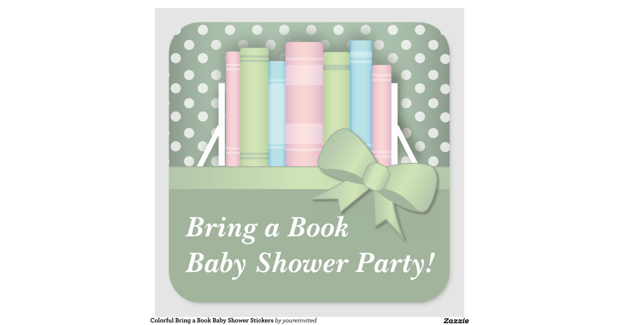 colorful bring a book baby shower stickers zazzle