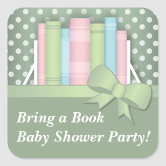 Colorful Bring a Book Baby Shower Stickers