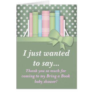 Colorful Bring a Book Baby Shower Thank You Card