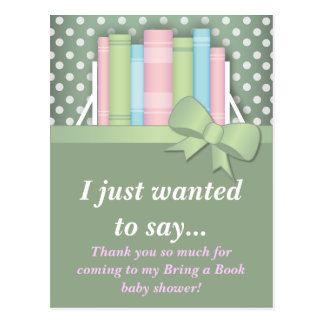 Colorful Bring a Book Baby Shower Thank You Postcard
