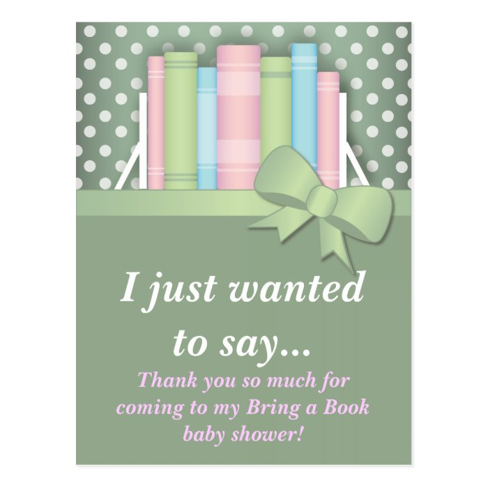 colorful bring a book baby shower thank you postcard zazzle