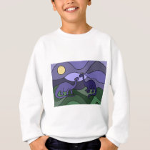 Colorful Brontosaurus Dinosaur Art Sweatshirt