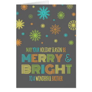 Colorful Brother Merry & Bright Christmas Card