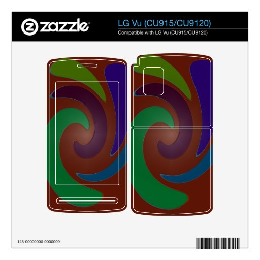 Colorful brown green blue swirl abstract LG vu decals