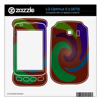 Colorful brown green blue swirl abstract LG optimus s skin