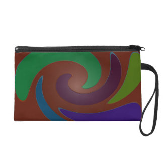 Colorful Brown Mod abstract art Wristlet