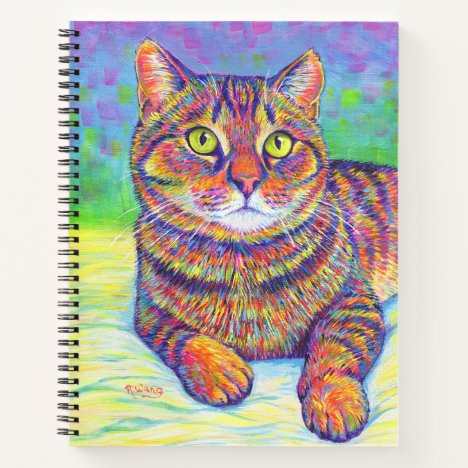 Colorful Brown Tabby Cat Spiral Notebook