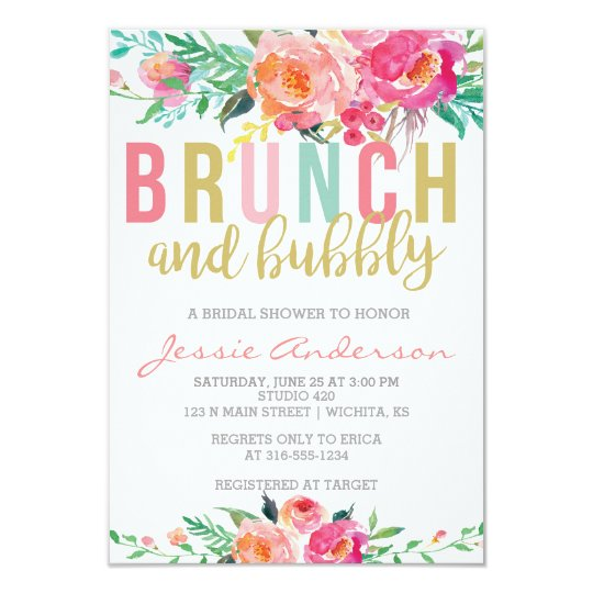 colorful brunch & bubbly bridal shower invitation | zazzle, Wedding invitations