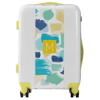 Colorful Brush Strokes and Yellow Monogram Luggage