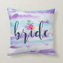 Colorful Brush Strokes & Modern Typography Bride Throw Pillow