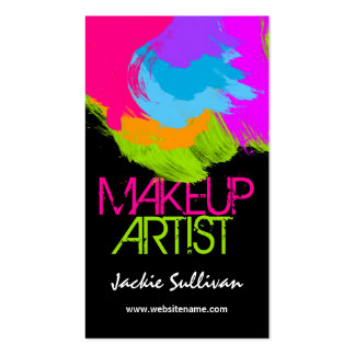 Colorful Brushstrokes Makeup Artist Business Cards