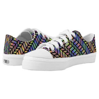 Colorful Brushstrokes with Fishnet pattern Low-Top Sneakers