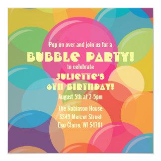"""Colorful Bubble Party Birthday Invitation 5.25"""" Square Invitation Card"""