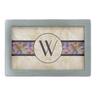 Colorful Bubble Pattern Ribbon Monogrammed Rectangular Belt Buckle