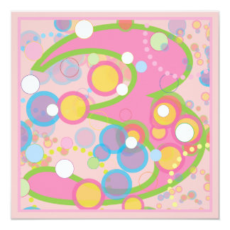 Colorful Bubbles 3rd Birthday Party Invitation