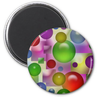 Colorful Bubbles And Squares 2 Inch Round Magnet