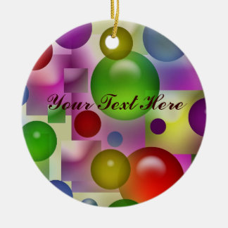 Colorful Bubbles And Squares Double-Sided Ceramic Round Christmas Ornament