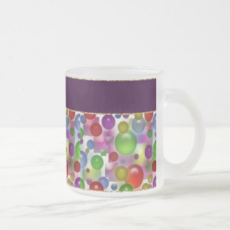 Colorful Bubbles And Squares Frosted Glass Coffee Mug