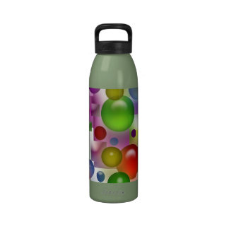 Colorful Bubbles And Squares Water Bottle