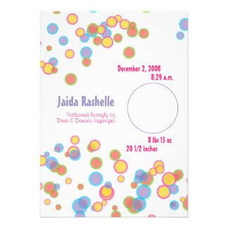 Colorful Bubbles Birth Announcement