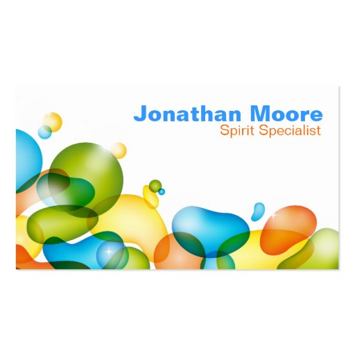 Colorful Bubbles business card - orange green blue