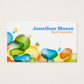 Colorful Bubbles business card - orange green blue