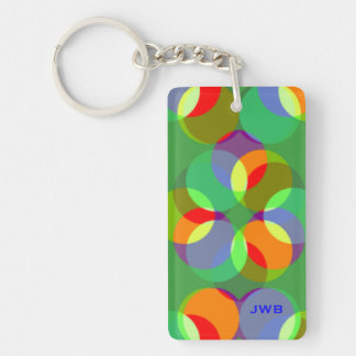Colorful Bubbles Circles Balls and Shapes Monogram Double-Sided Rectangular Acrylic Keychain