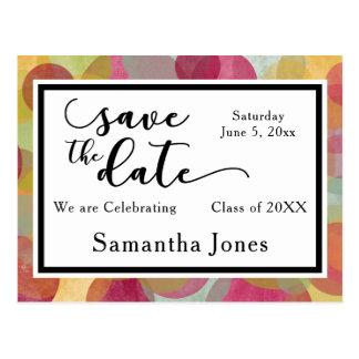 Colorful Bubbles Design: Graduation Save the Date Postcard
