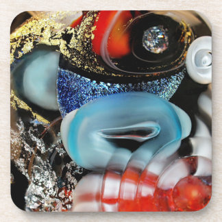 colorful Bubbles, photography, glass object, gold Coaster