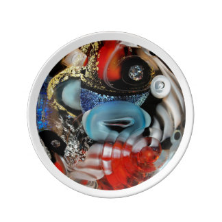 colorful Bubbles, photography, glass object, gold Porcelain Plate
