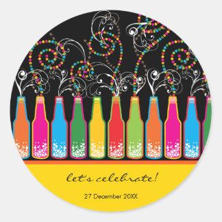 Colorful Bubbly Bottles Celebration Party Sticker