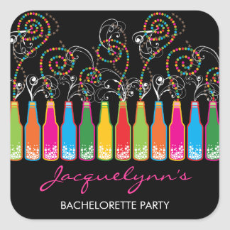 Colorful Bubbly Celebrations Wedding Party Sticker