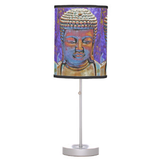 Colorful Buddha on Purple Background Table Lamps