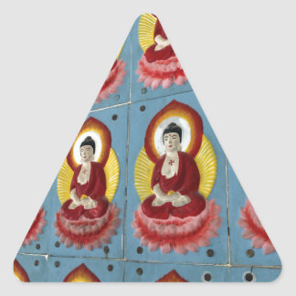 Colorful Buddha tiles in temple Triangle Sticker