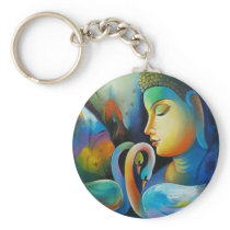 Colorful Buddha With Swans Keychain