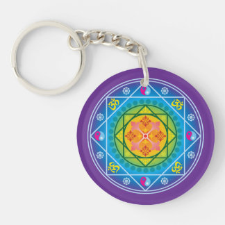 Colorful Buddhist Om, Dharma & Yin Yang Mandala Keychains