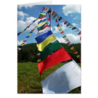Colorful Buddhist Prayer Flags Pole Photo Card