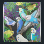"Colorful Budgerigar Parrots in Ferns Bandana<br><div class=""desc"">Original fine art design of colorful budgie or Budgerigar parrots in ferns by artist Carolyn McFann of Two Purring Cats Studio printed on a quality bandana for parrot lovers.</div>"