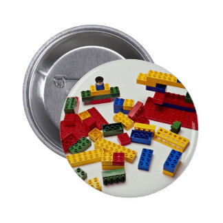 Colorful building blocks for kids 2 inch round button