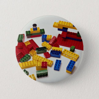 Colorful building blocks for kids pinback button