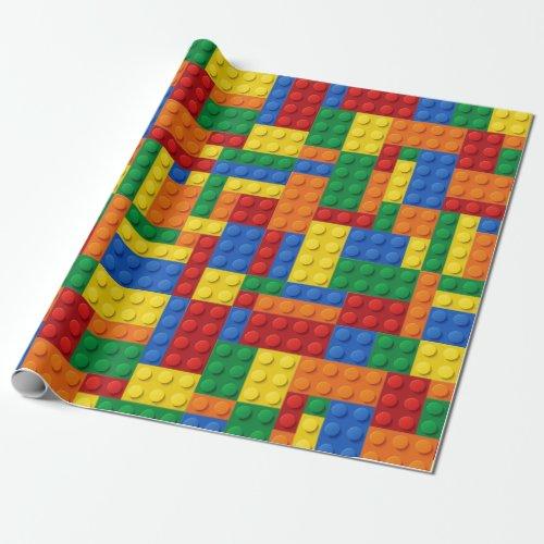 Colorful Building Bricks Blocks | Custom Wrapping Paper