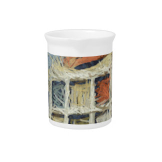 Colorful building with color panels beverage pitchers