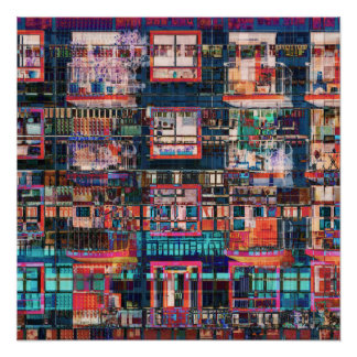 Colorful Buildings Collage Poster