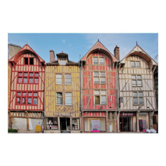 Colorful Buildings in Troyes France Poster