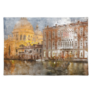 Colorful Buildings in Venice Italy Cloth Placemat