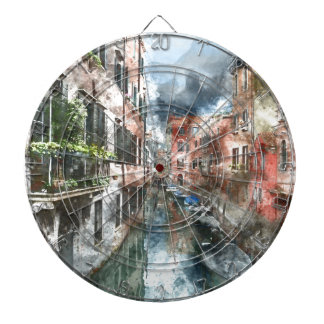 Colorful Buildings in Venice Italy Dart Board