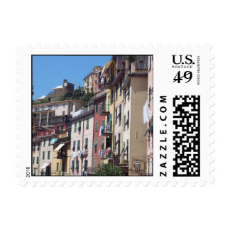 Colorful Buildings Postage Stamp