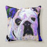 Colorful Bulldog Pillow