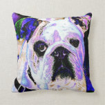 Colorful Bulldog Throw Pillow