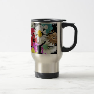 Colorful Bunch of Flowers Collage Travel Mug
